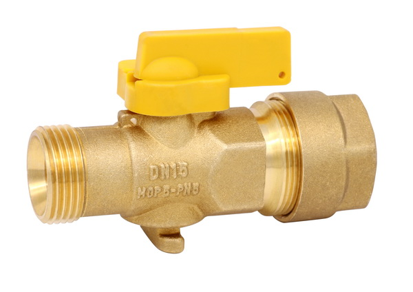 GAS VALVE_Brass Gas Valve Male With Coupling_Art.TS 959